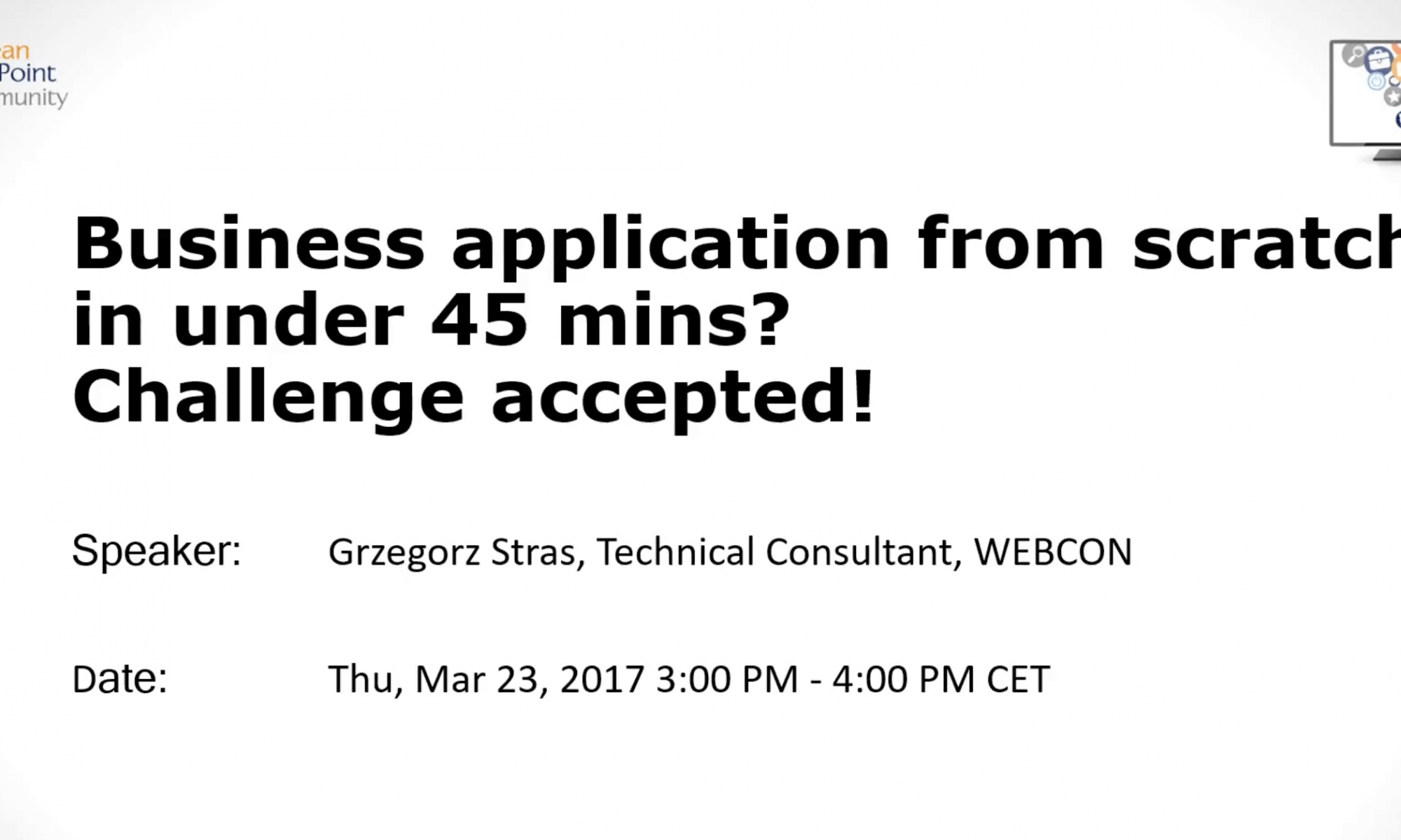 Business application from scratch in 45 minutes