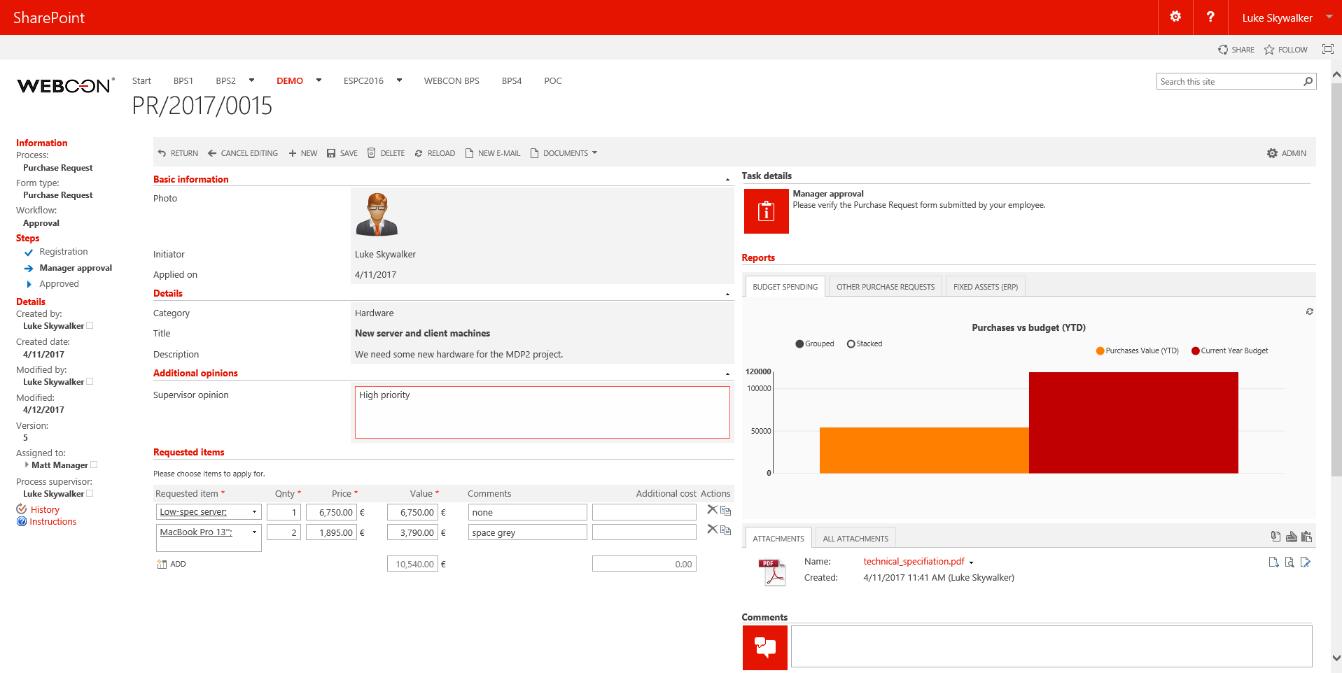 WEBCON BPS intuitive SharePoint user-interface   WEBCON