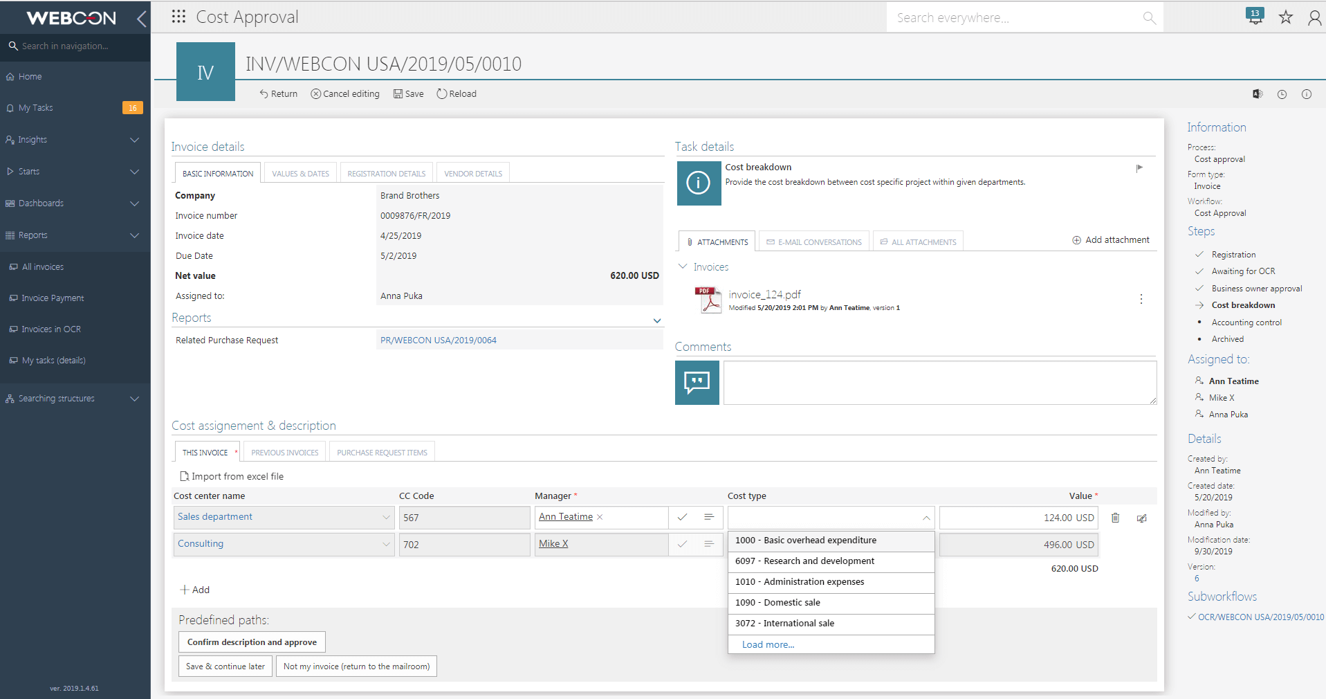 Cost invoice attribution in WEBCON BPS