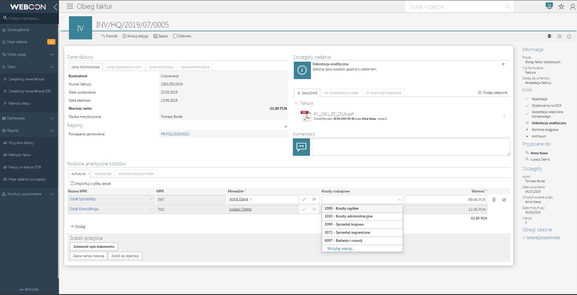 Dekretacja analityczna WEBCON BPS