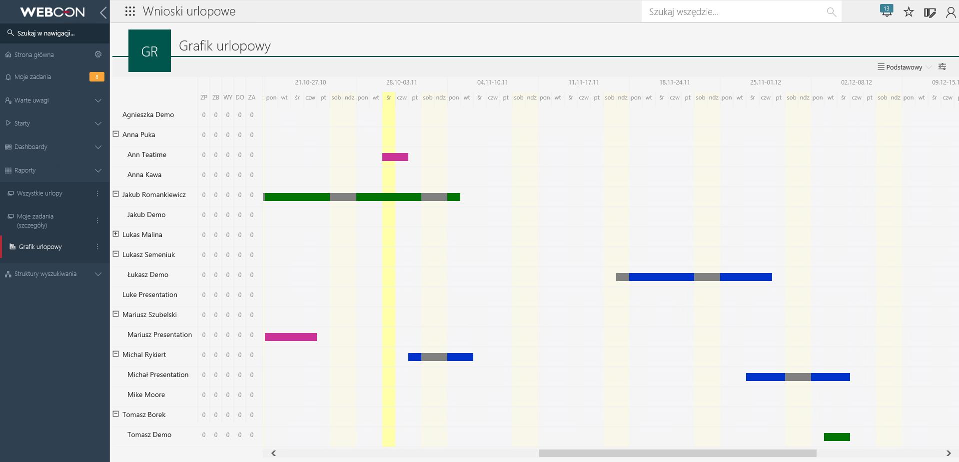grafik urlopowy w WEBCON BPS