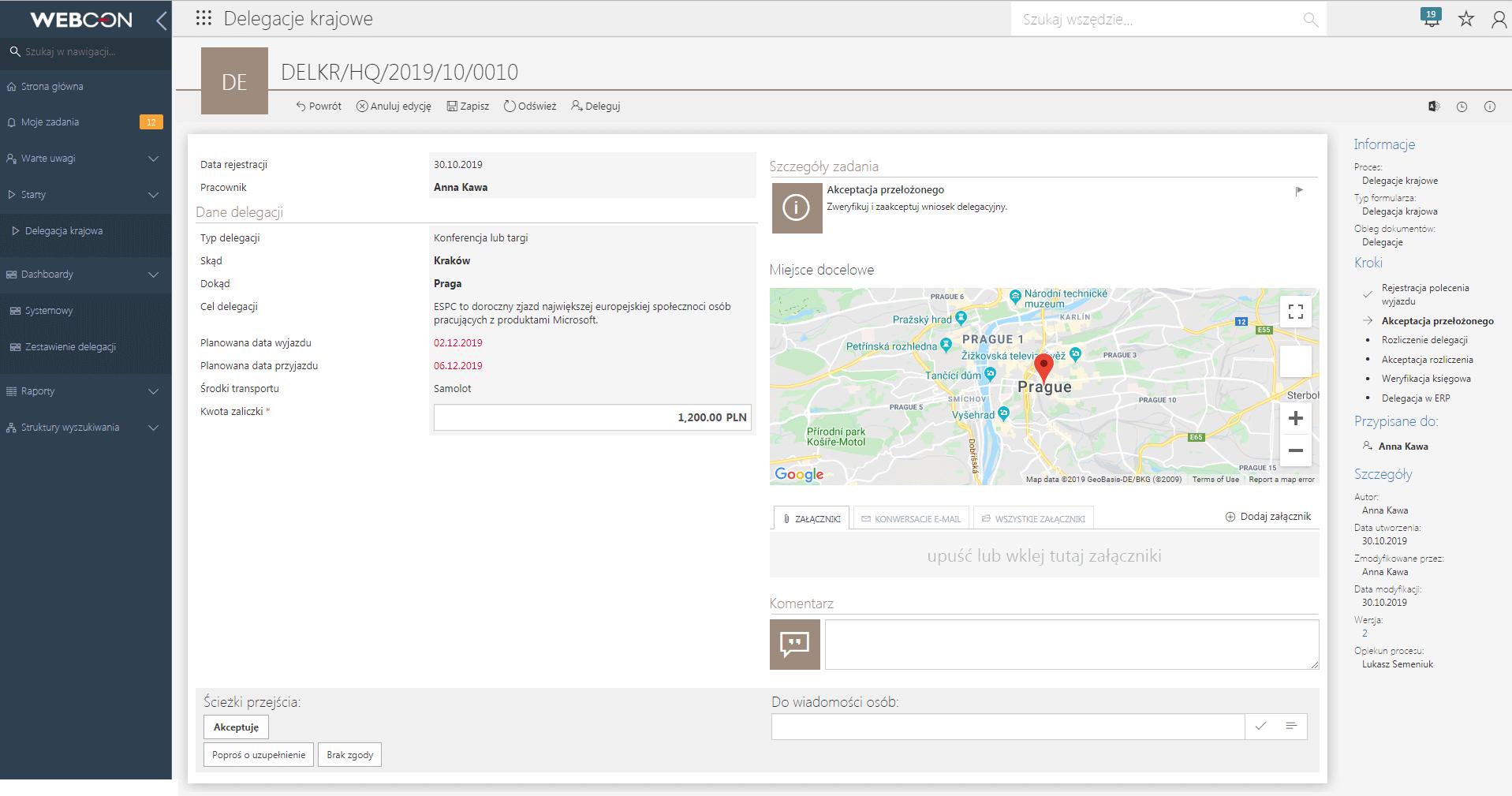 Mapa w obiegu delegacji w WEBCON BPS