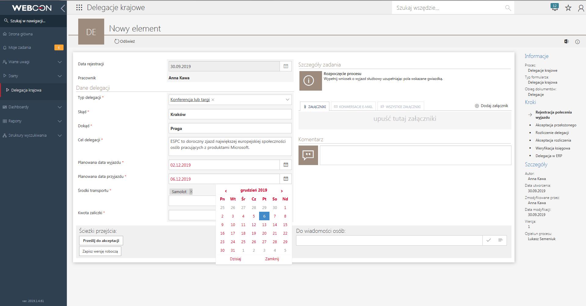 rejestracja delegacji w WEBCON BPS