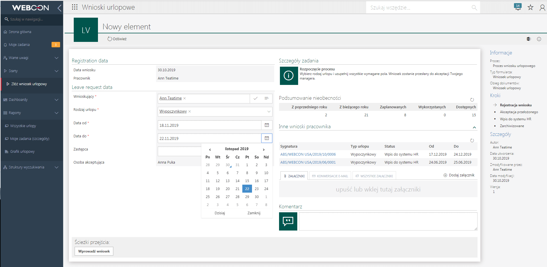 Rejestracja wniosków urlopowych w WEBCON BPS