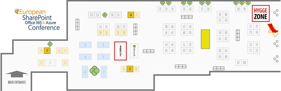 the ESPC Conference map - WEBCON booth