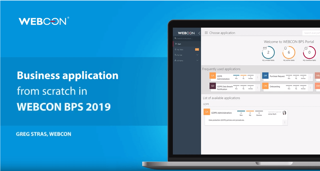 business application from scratch in WEBCON BPS 2019