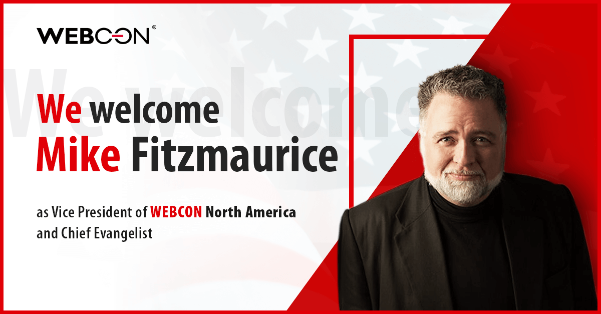 Mike Fitzmauirce joins WEBCON as Vice President North America and Chief Evangelist