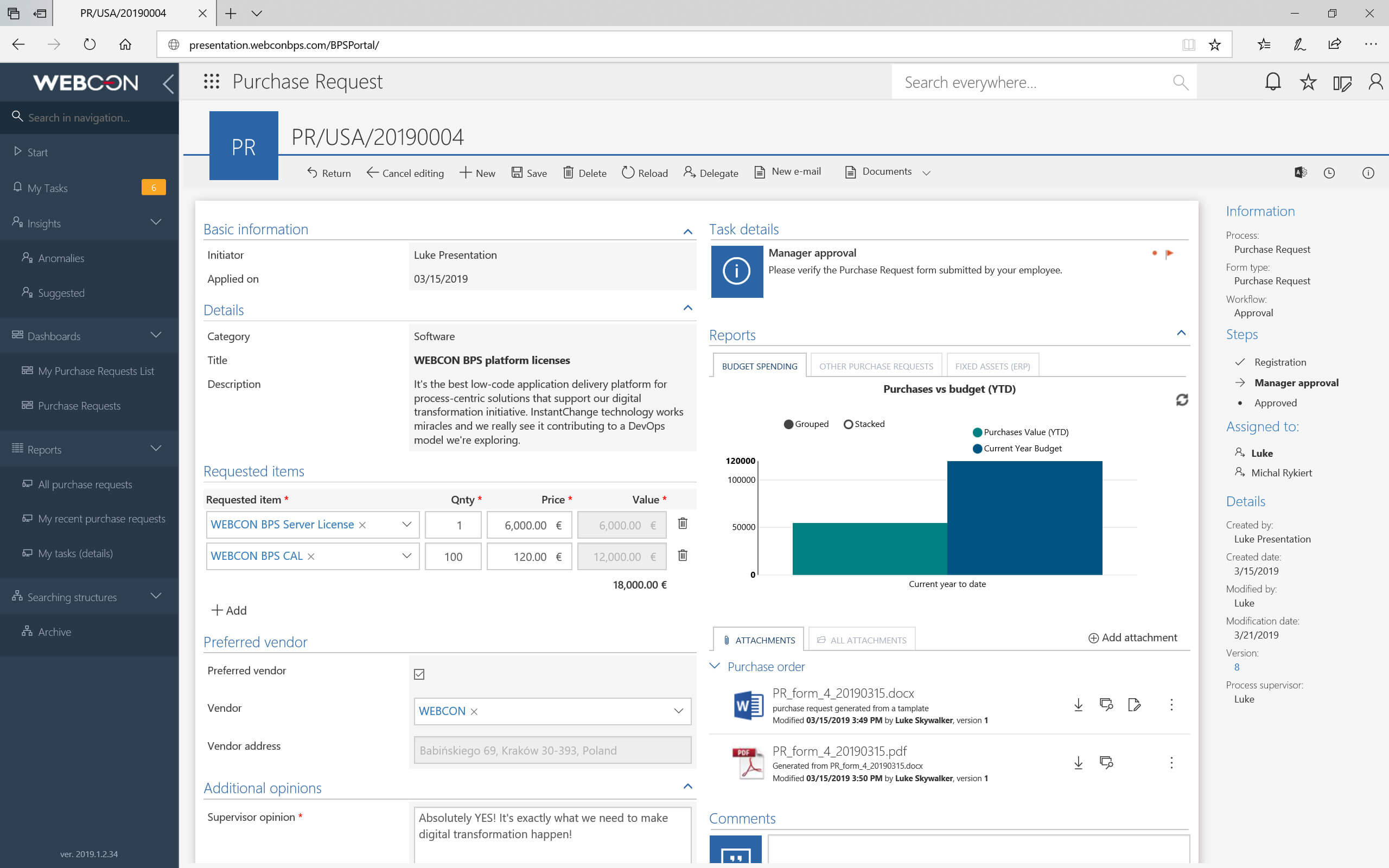 Dynamic forms dashboard in WEBCON BPS