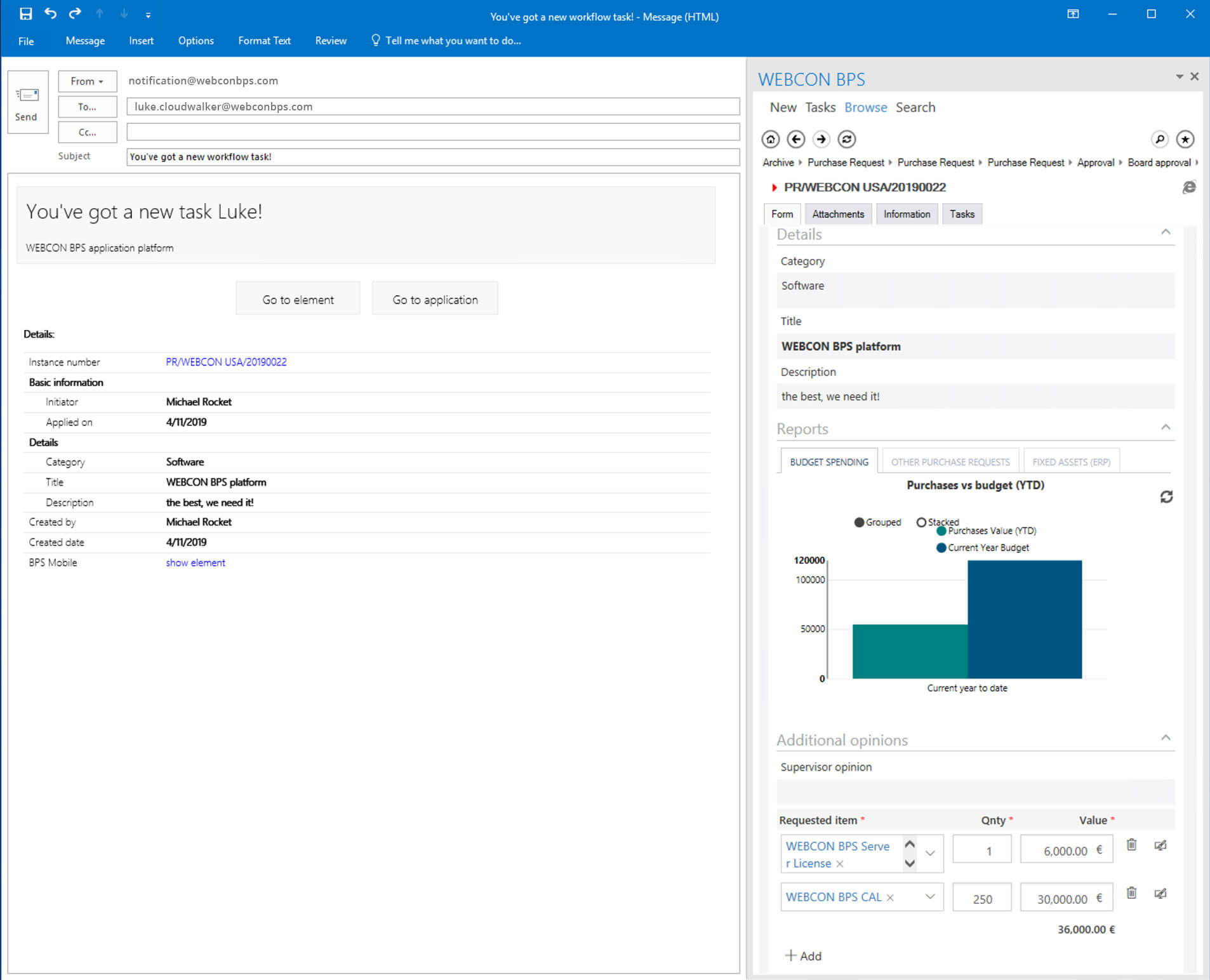 Outlook dashboard in WEBCON BPS